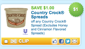 We found all of the Butter & Margarine coupons available online and put them all on this page so it's super easy to find and print the coupons you want! Country Crock® with Sunflower Oil Spread. Any variety. Print Print this coupon. $ off. Save $ off ONE (1) Country Crock .