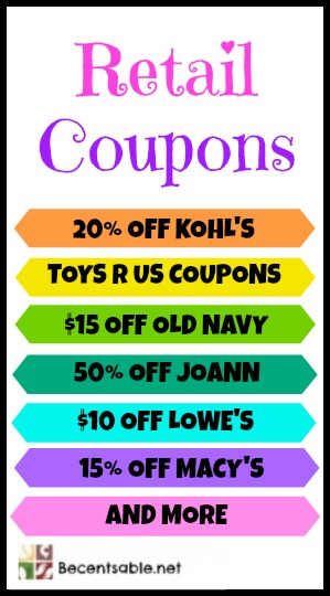 Check out today's most popular printable in-store retail coupons at BeFrugal. New printable coupons for top retail stores added every day. Check out today's most popular printable in-store retail coupons at BeFrugal. New printable coupons for top retail stores added every day.
