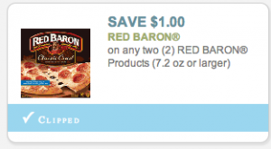 Buy 2 Red Baron Multi-Serve Pizza $ each Buy 2 Red Baron Single Serve Pizza $ each Total = $ Minus the Free Red Baron Single Serve Pizza when you buy Multi-Serve Pizza sale Pay $ Get $1 cash back via Ibotta when you buy two Red Baron Multi-Serve Frozen Pizza (expires 7/10; limit 1) .