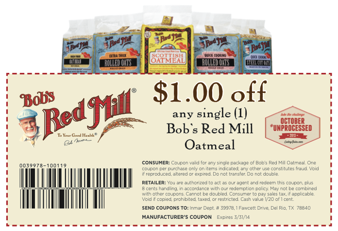 picture about Bobs Printable Coupons referred to as Bobs Purple Mill Coupon: $1 Off Printable Coupon