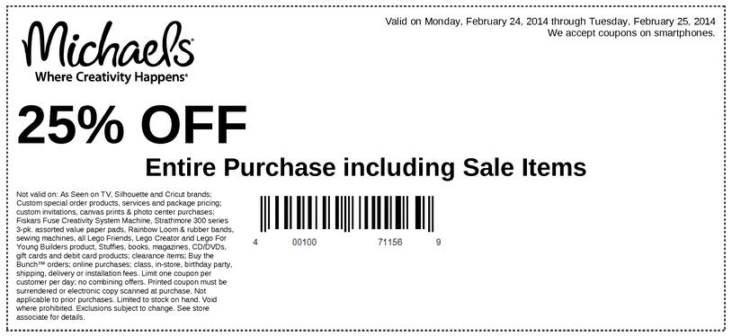 Michaels coupons 25 off entire purchase - Discount shell