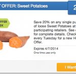 Coupons For Produce: 20% Off Sweet Potatoes