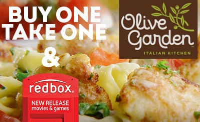 Olive garden buy one take one deal and free redbox for Take me to the nearest olive garden