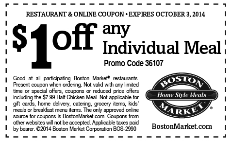 photograph about Printable Boston Market Coupons called Boston Market place Printable Coupon